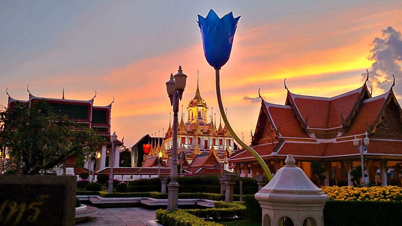 Bangkok temple at sunset