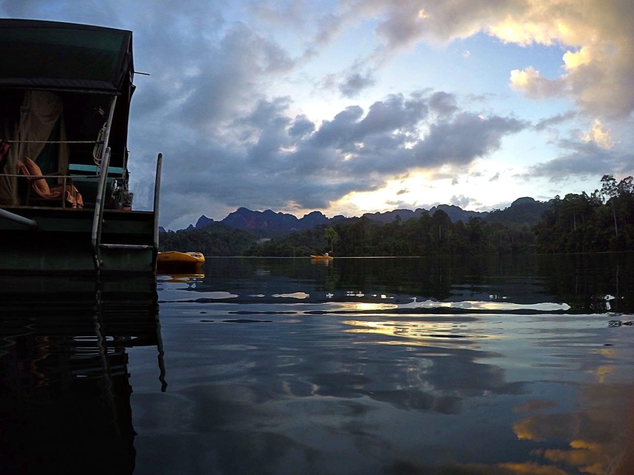 Lake camp sunset