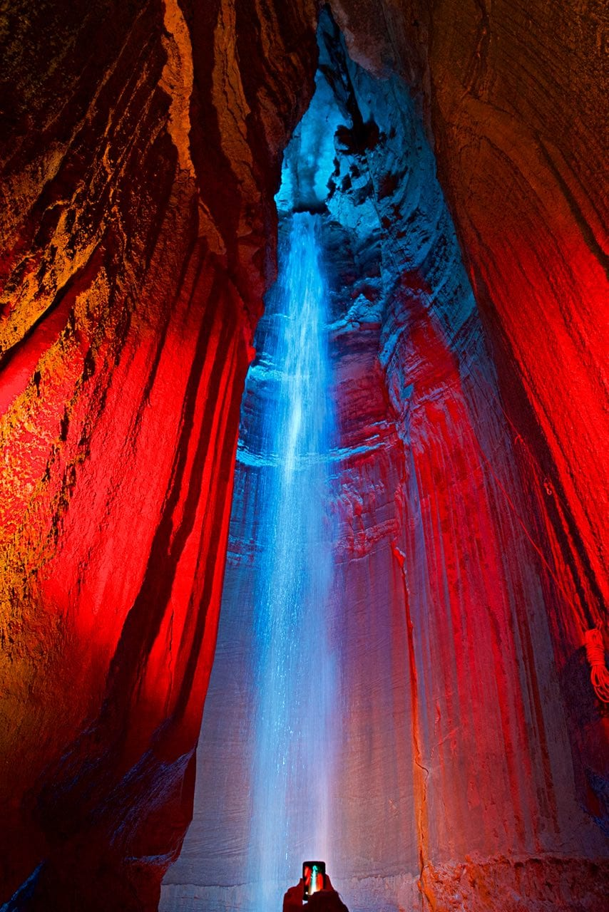 The Ruby Falls waterfall and light show.