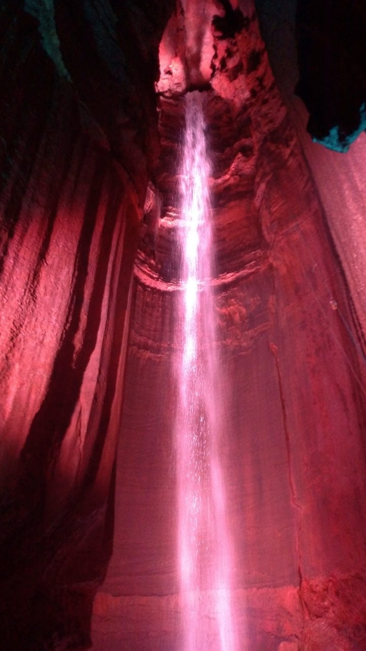 145' waterfall deep inside of Ruby Falls