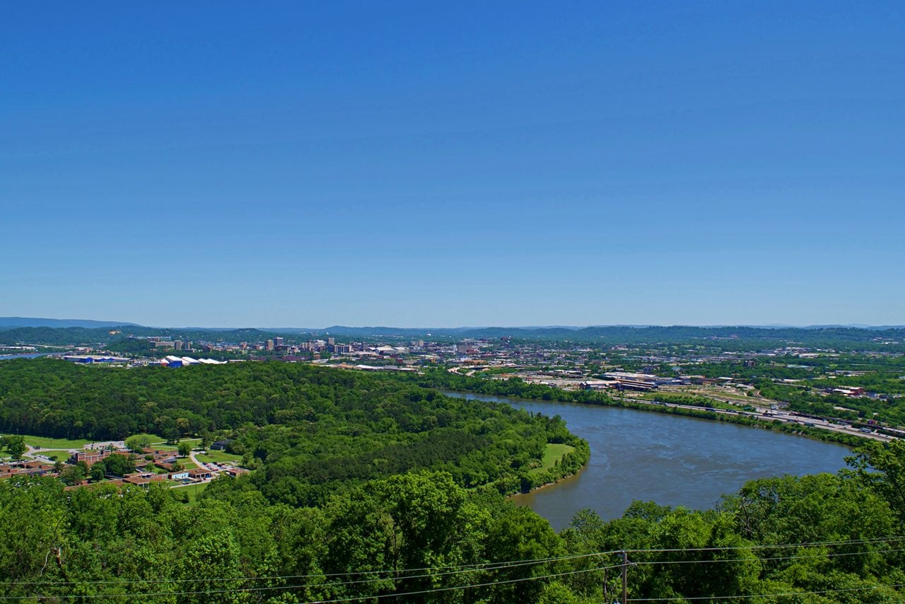The view of Chattanooga from Ruby Falls