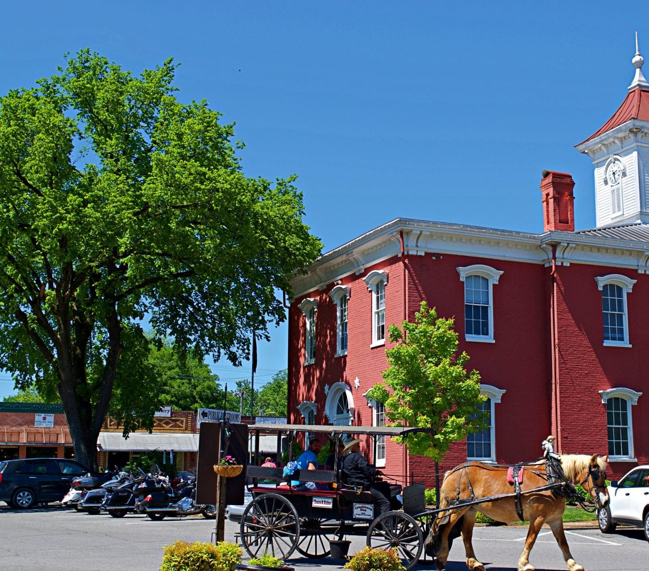 A horse and buggy at the Moore County Courthouse