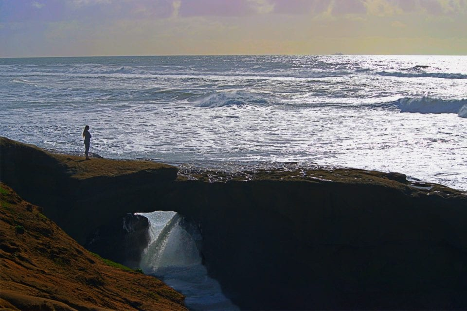 Over time, the heavy surf carved these sea caves into Sunset Cliffs