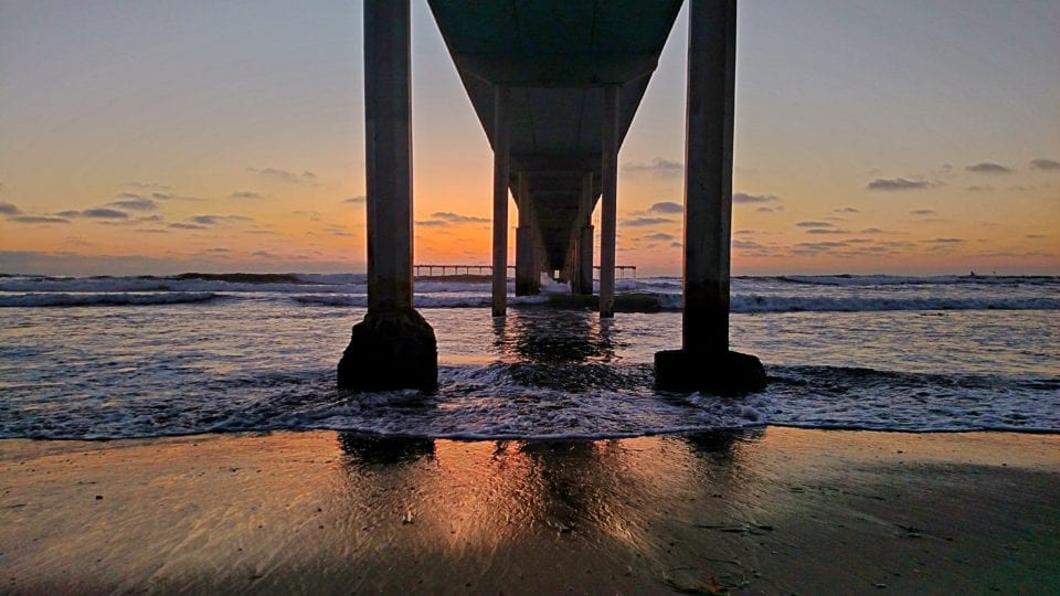 Our shot of Ocean Beach Pier pilings at sunset