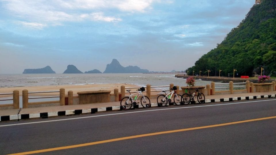 Our bikes crossing the bridge coming into Prachuap Khiri Khan