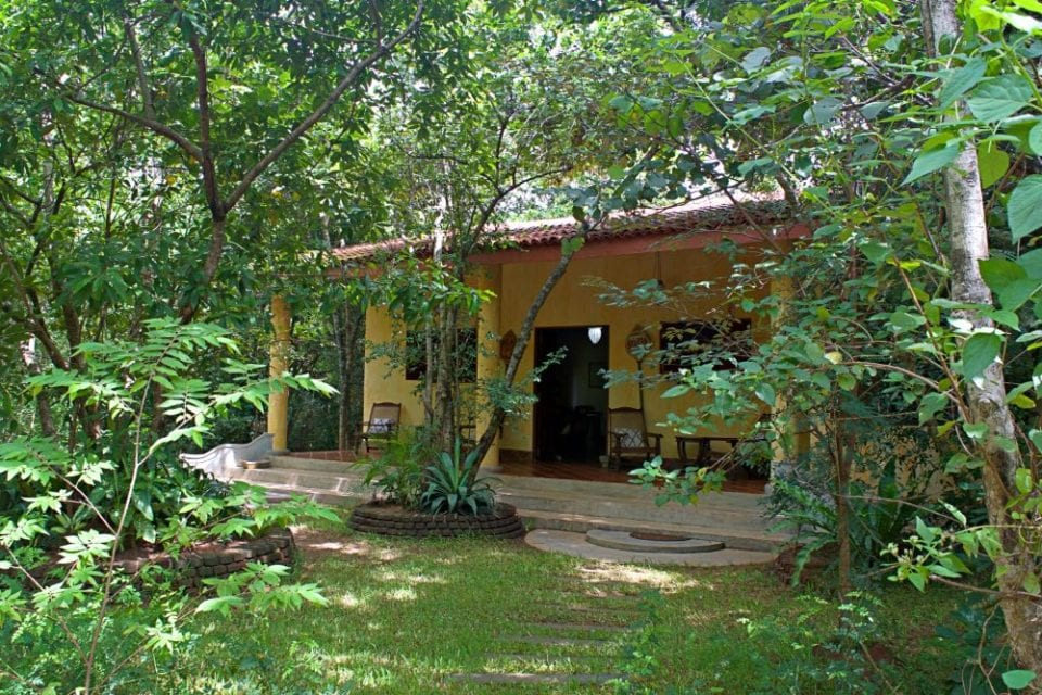 The main office at Mahagedara Retreat looks like it is one with the jungles of Sri Lanka