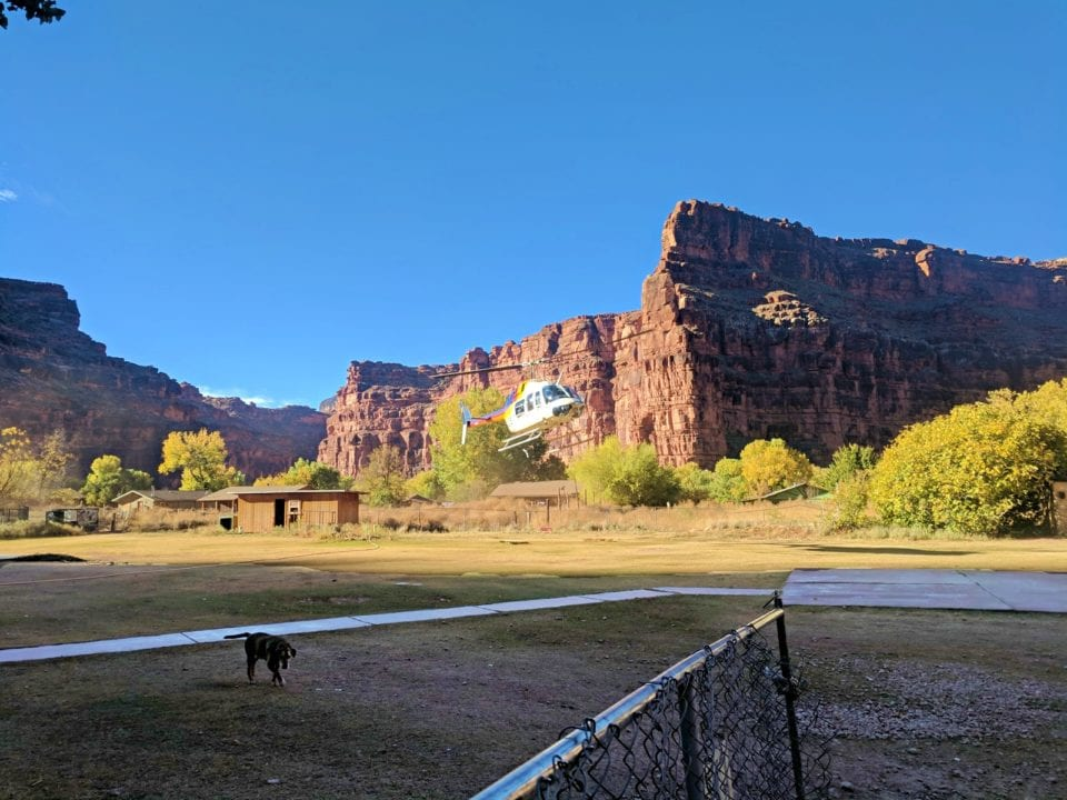 Helicopter Landing in Supai Village