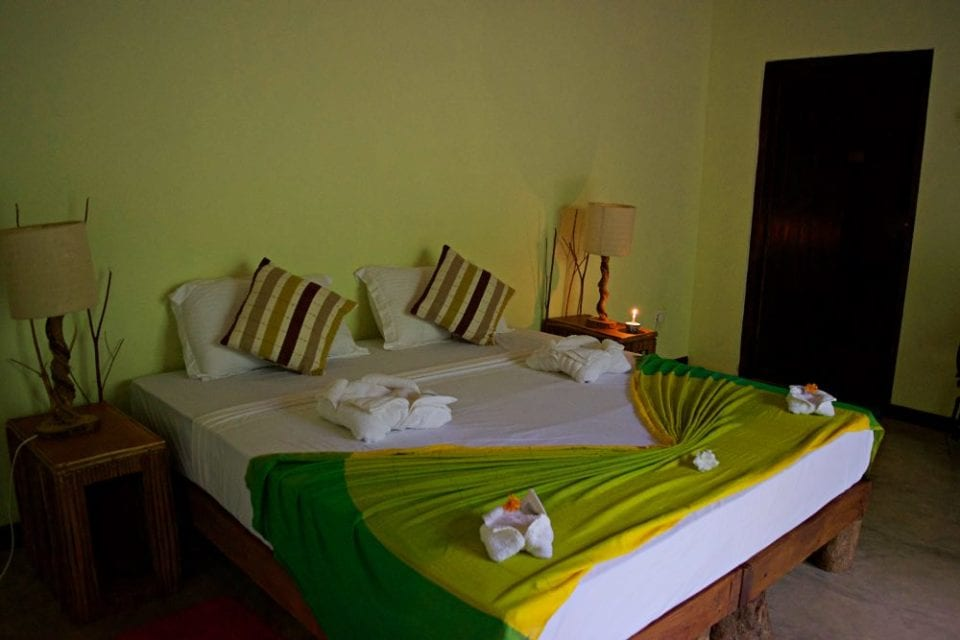 Our very comfortable room at Mahagedara Wellness Retreat in Sri Lanka