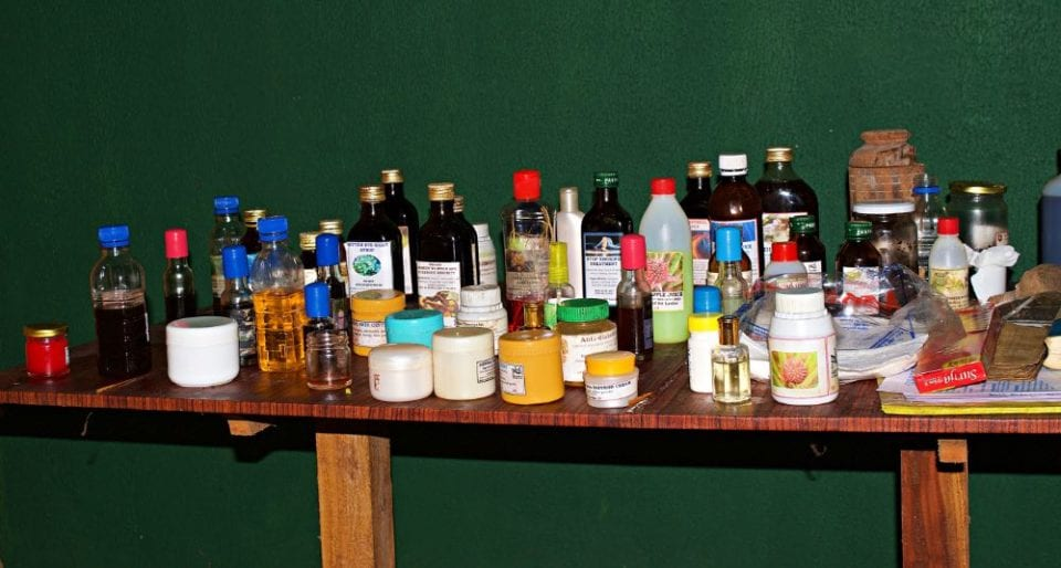 Table of Lotions and Potions for sale at the Herb Garden in Sri Lanka