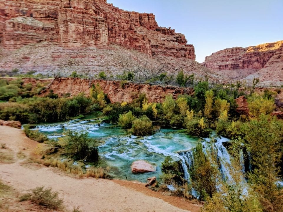 Picture of the Upper Falls. This waterfall is about halfway between Supai Village and Havasu Falls