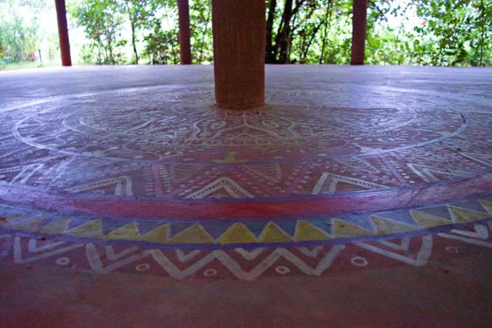 The outdoor Yoga studio at the Mahagadera retreat