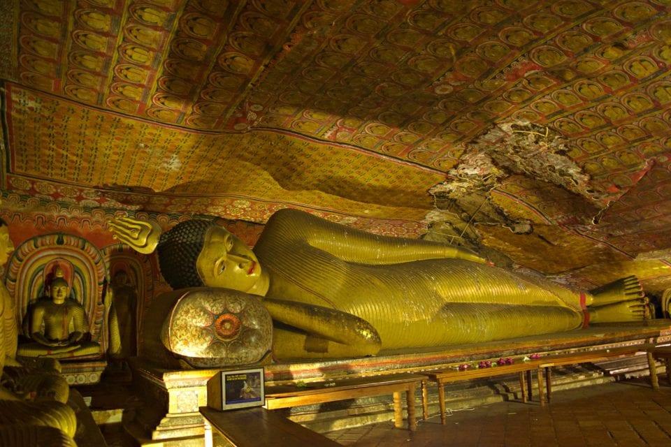 Reclining Buddha Inside Dambulla Cave Temple