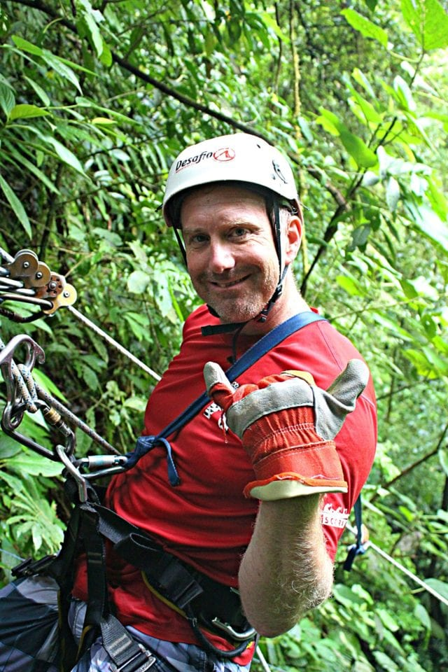 Ed on rope in Lost Canyon Costa Rica