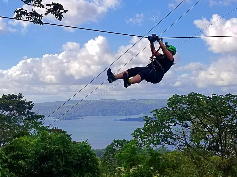 Jenn ziplining at Sky Aerial Adventures in Costa Rica
