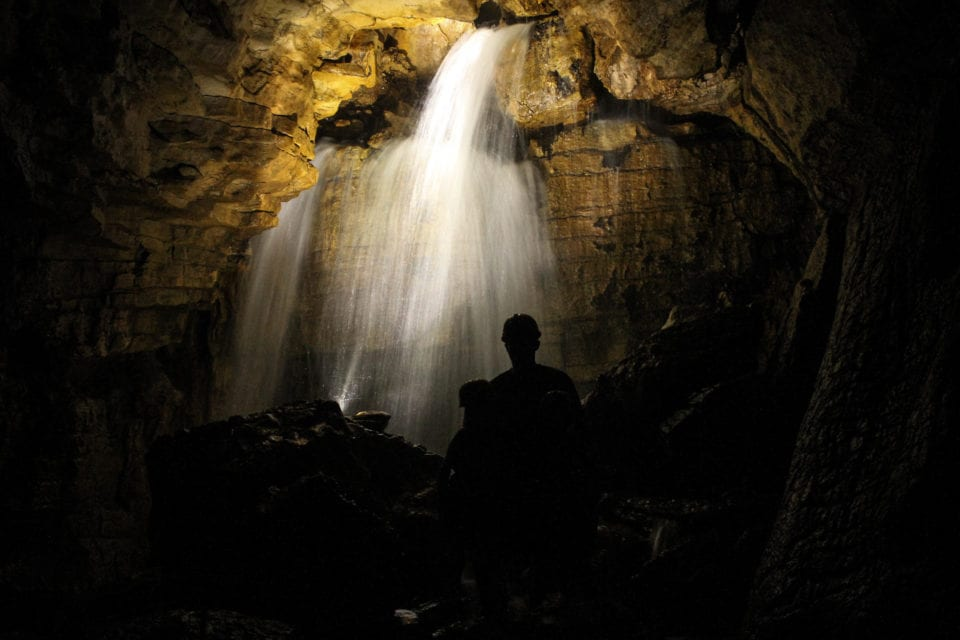 Underground waterfall Venado Caves (photo by Fausto Perez)