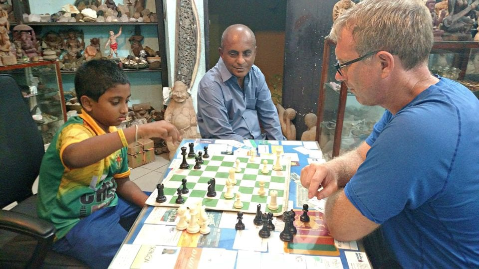 Can you think of a more authentic experience than a chess Game in a Hikkaduwa gem shop?