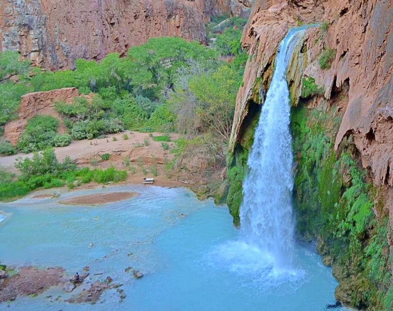 A picture looking down on Havasu Falls