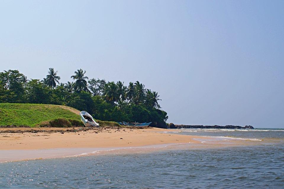 Ocean River Confluence in Hikkaduwa Sri Lanka