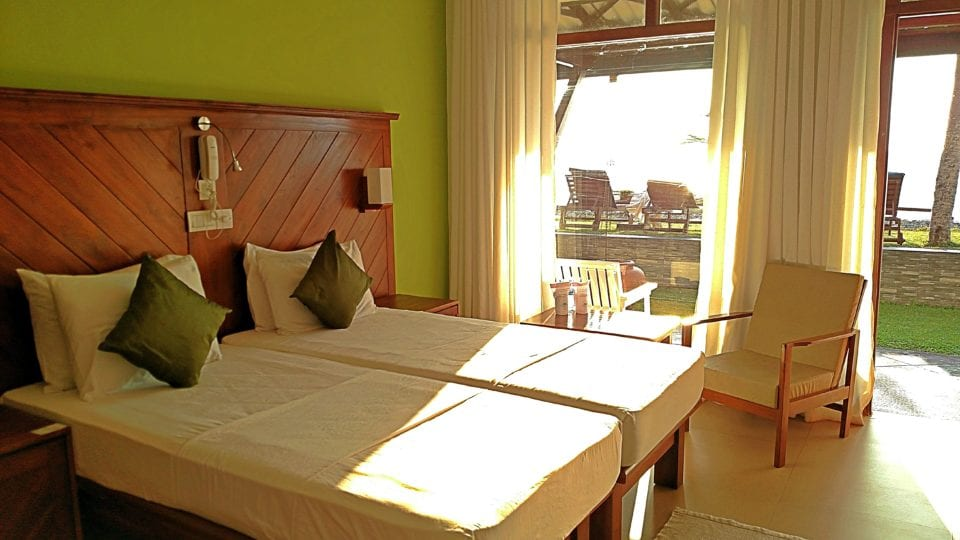 Our room at Coral Sands in Hikkaduwa Sri Lanka in front of the beach.