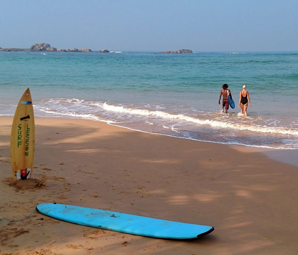 Surfing at Hikkaduwa Beach (photo by Jenn Coleman)