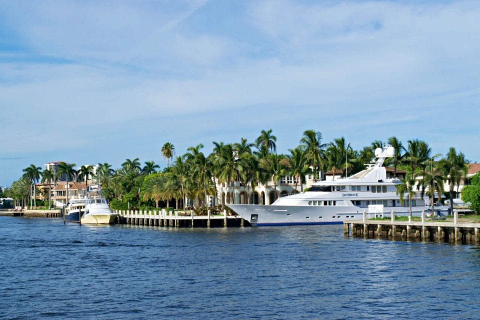 Mega Yacht Millionaires Row Fort Lauderdale on the boat ride to diving