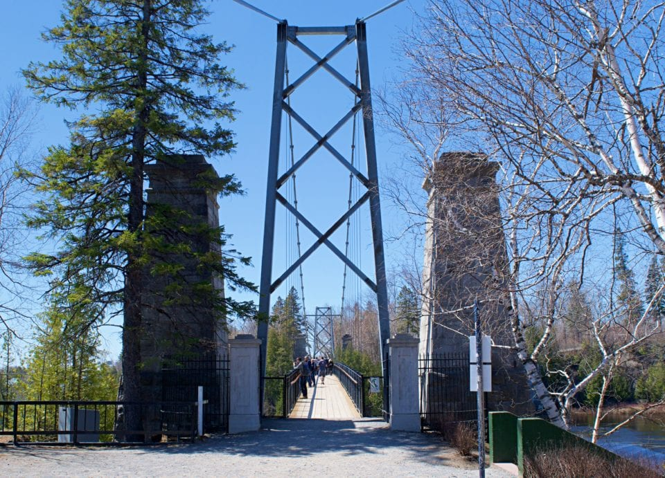 Entrance to the hanging bridge at Montmorency Falls