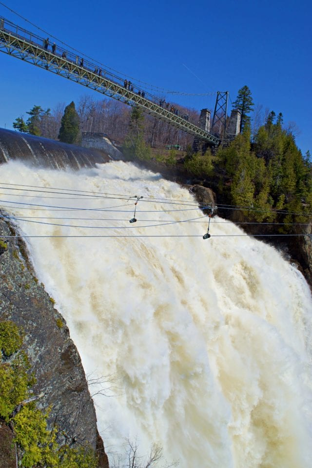 Hanging bridge Montmorency Falls from below