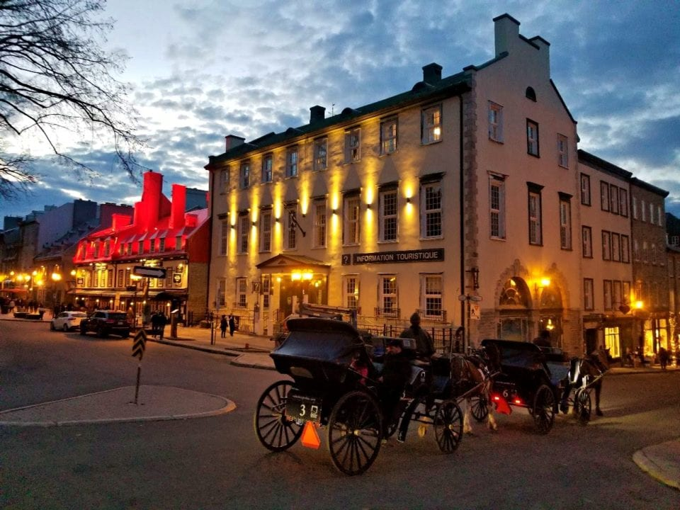 Horse drawn carriage the the evening in Quebec City