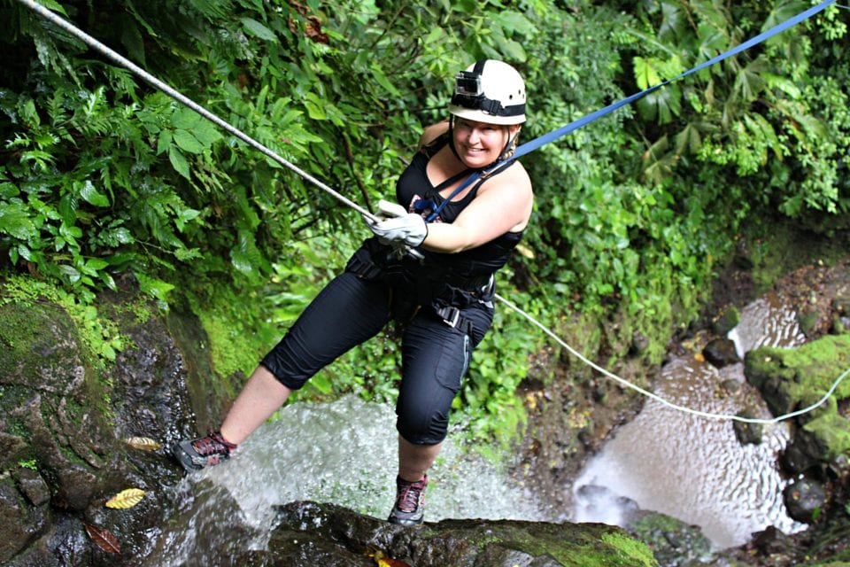 Jenn on rope in Lost Canyon Costa Rica