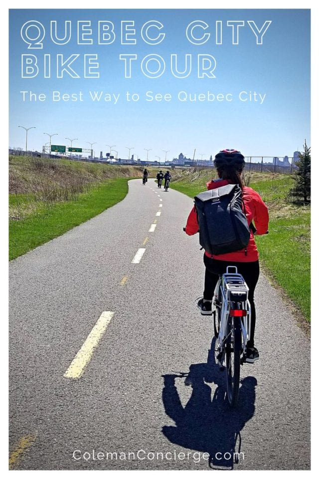 The perfect introduction to the Québec countryside is by bike, and there are many tours available so you can experience the beauty of Québec two wheels. Our bike tour to Montmorency Falls what is our absolute favorite activity while in the city. Learn more about the history of Montmorency Falls as well as the best bike tour in Québec City. #QuebecCity #Biking #Cycling #Quebec #BikeTour