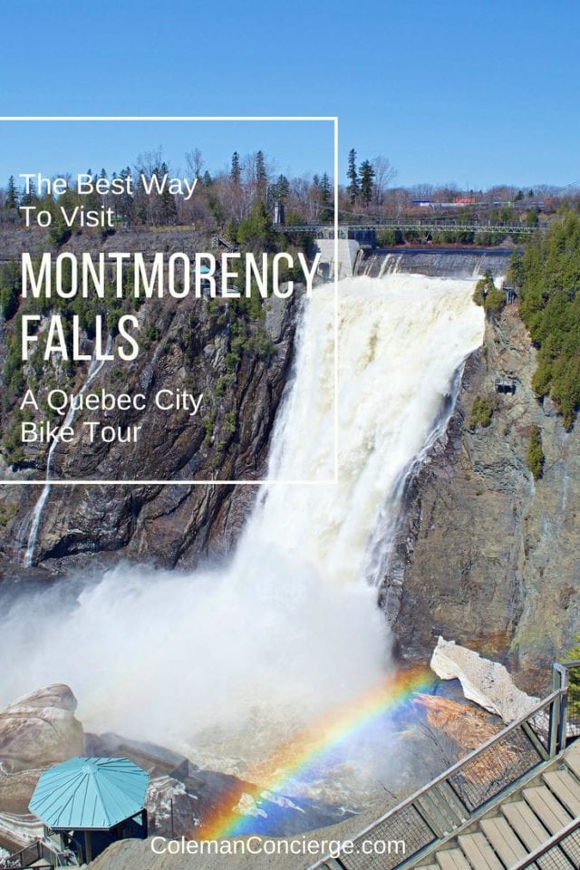 Montmorency Falls is one of the most stunning natural wonders in Québec City. It is a must visit location while in Québec. Of the best ways to visit this is natural wonder is by bike. Not only do you get to enjoy the scenery, you get a little exercise, and you avoid parking fees! Click to learn more about bike rental and touring options. #QuebecCity #Biking #Cycling #Quebec #BikeTour