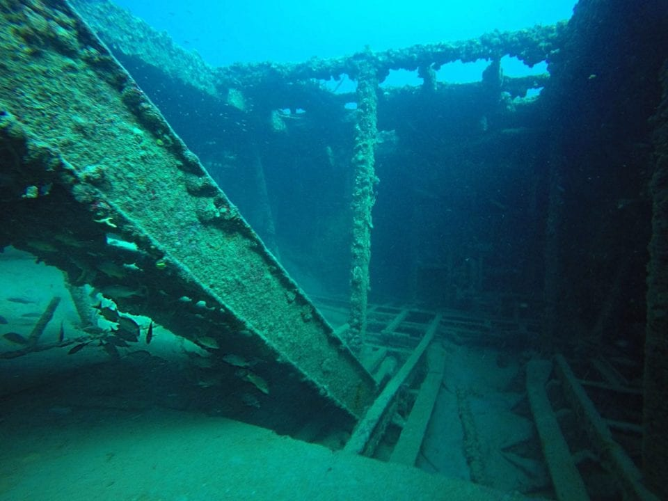 Scuba diving inside Ancient Mariner Wreck