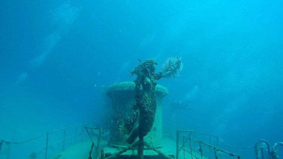 The beautiful mermaid statue on the Okinawa dive
