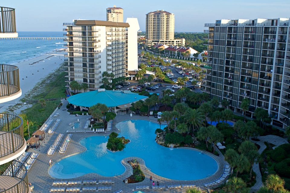 Arial view of Edgewater Beach & Golf Resort lagoon pool
