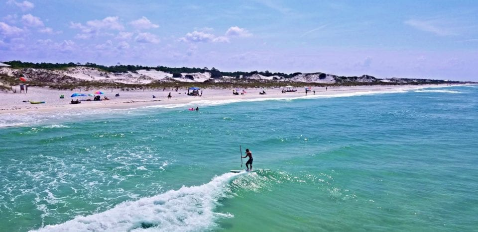 St Andrews State Park SUP Surfing
