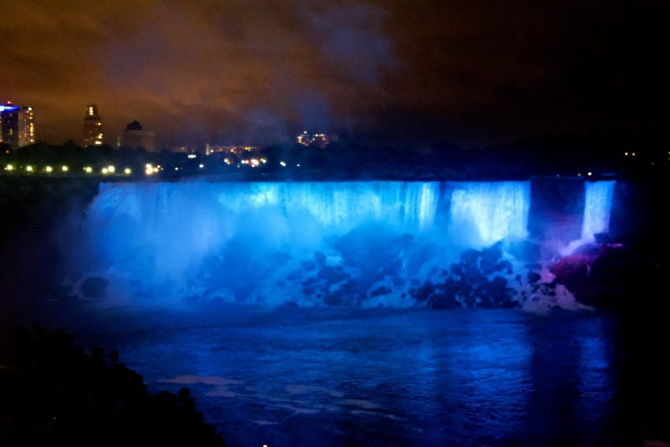 Niagara Falls-American Falls & Bridal Veil Falls at night blue