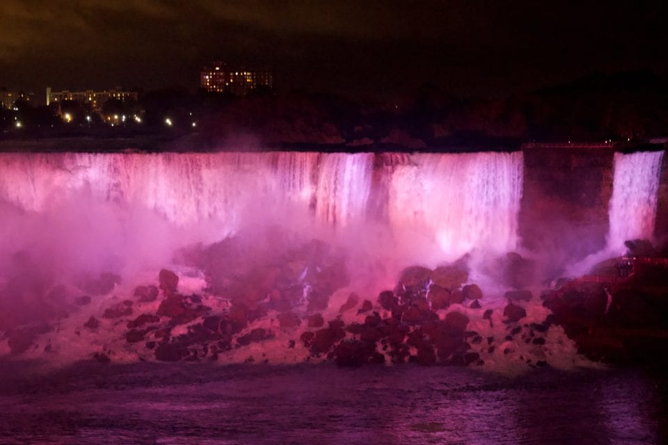 Niagara Falls-American Falls & Bridal Veil Falls at night pink