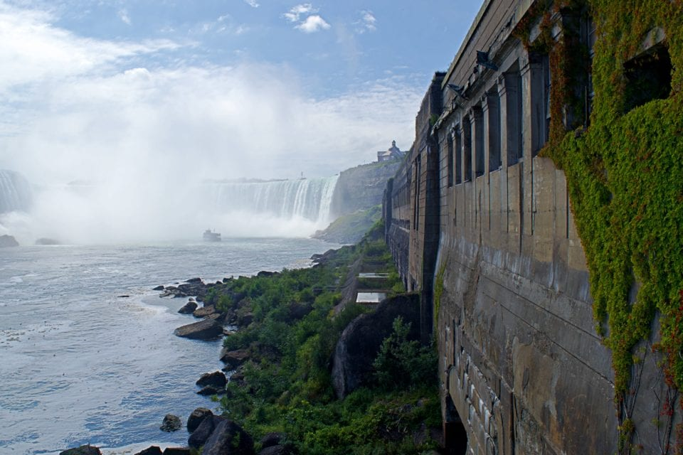 Niagara Falls- Horseshoe Falls and power plant - sci fi view