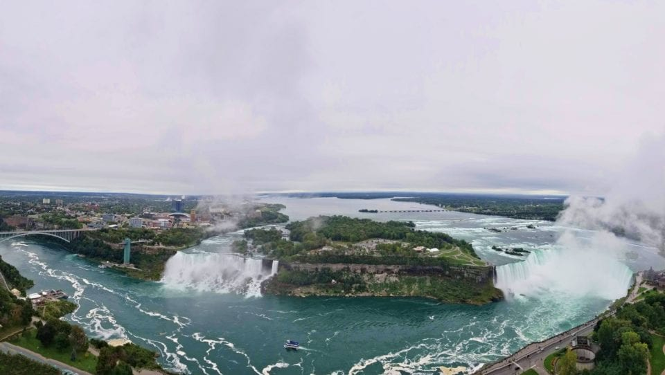 View from Skylon Tower-Niagara Falls-American Falls & Bridal Veil Falls