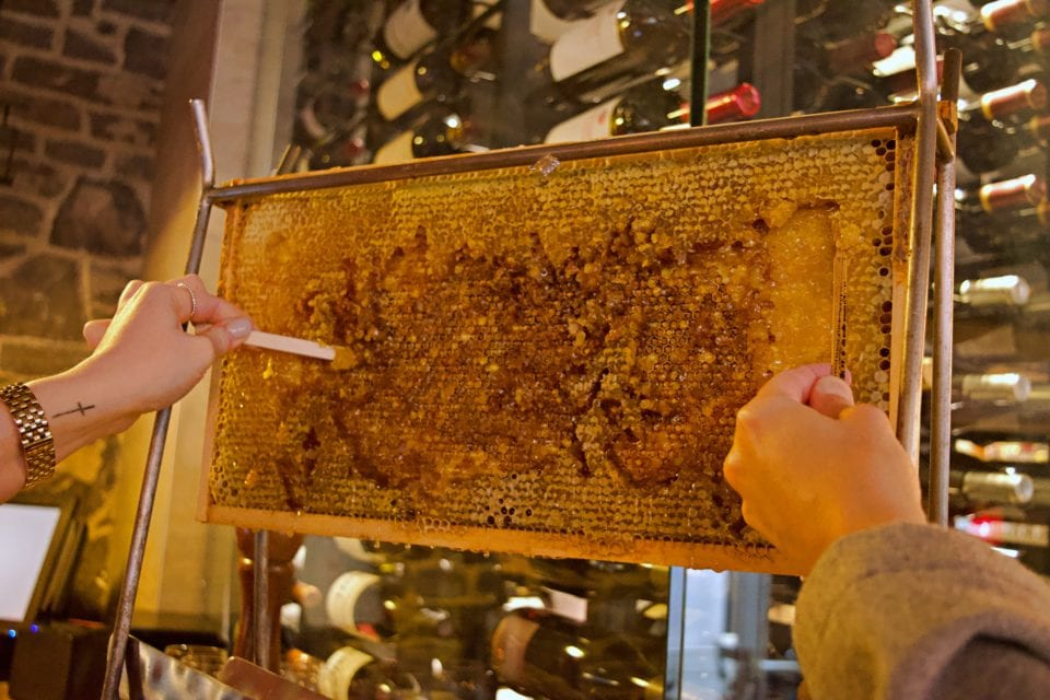 Sampling honey at Bistro Tournebroche
