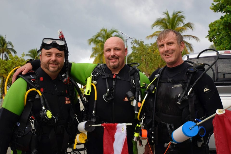 The boys getting ready to dive.  From left to right Mike-Curtis-Ed