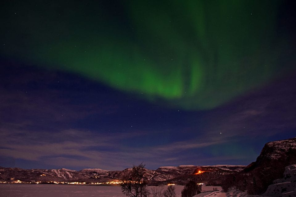 Northern lights over ski resort near Alta Norway