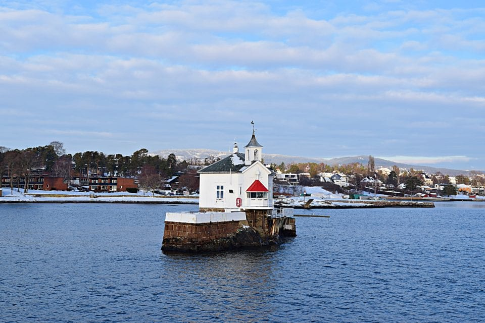Small lighthouse in fjord in Oslo