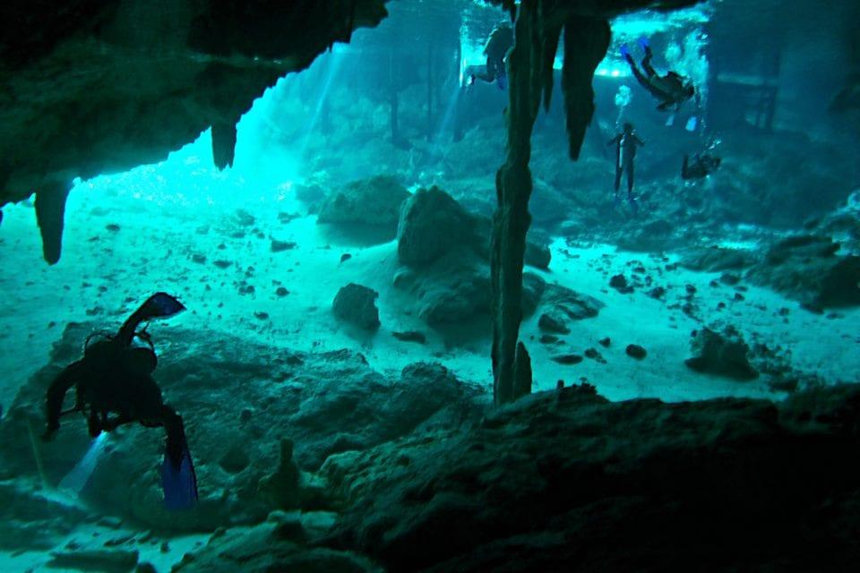 Diver in Dos Ojos Cenote