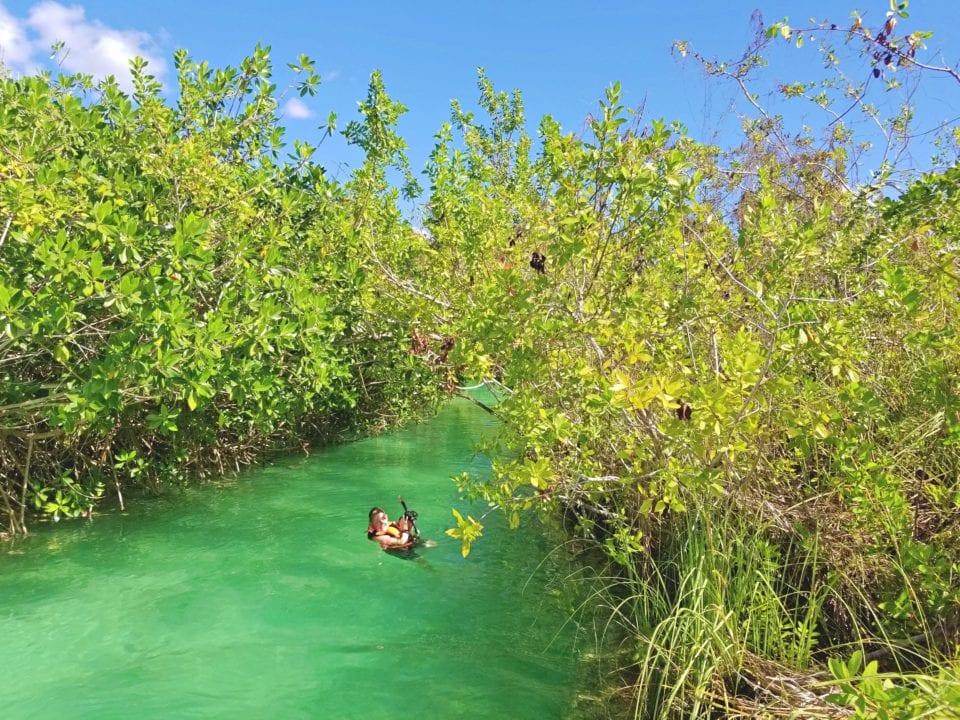 Jenn getting ready to float river channel Sian Kaan Biosphere