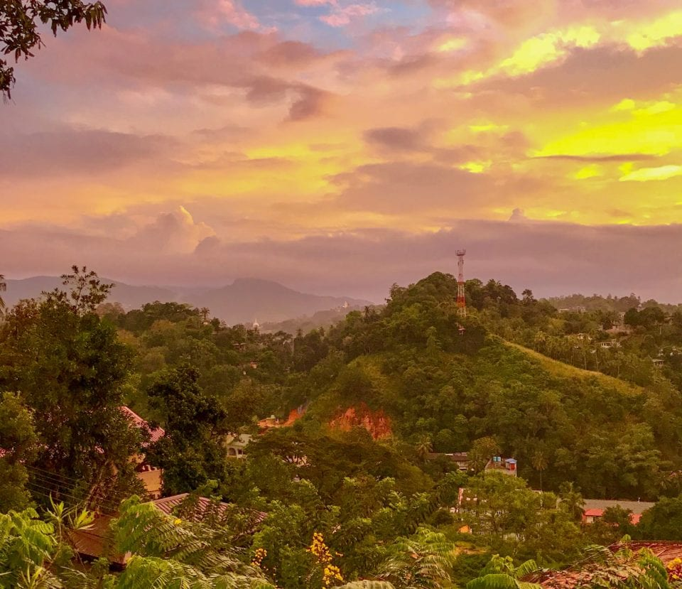Kandy Valley at Sunset - Photo by Sandy @  Tray Tables Away