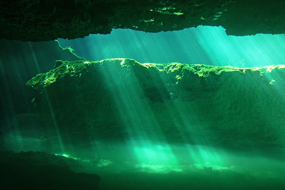 Light Beams La Casa Cenote