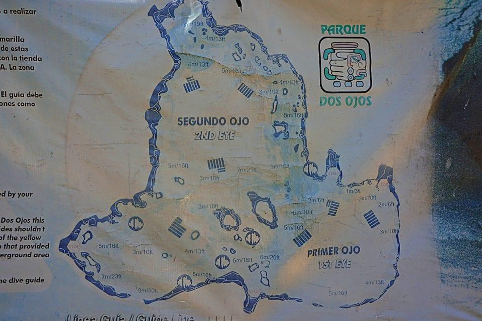 Map of Dos Ojos Cenote