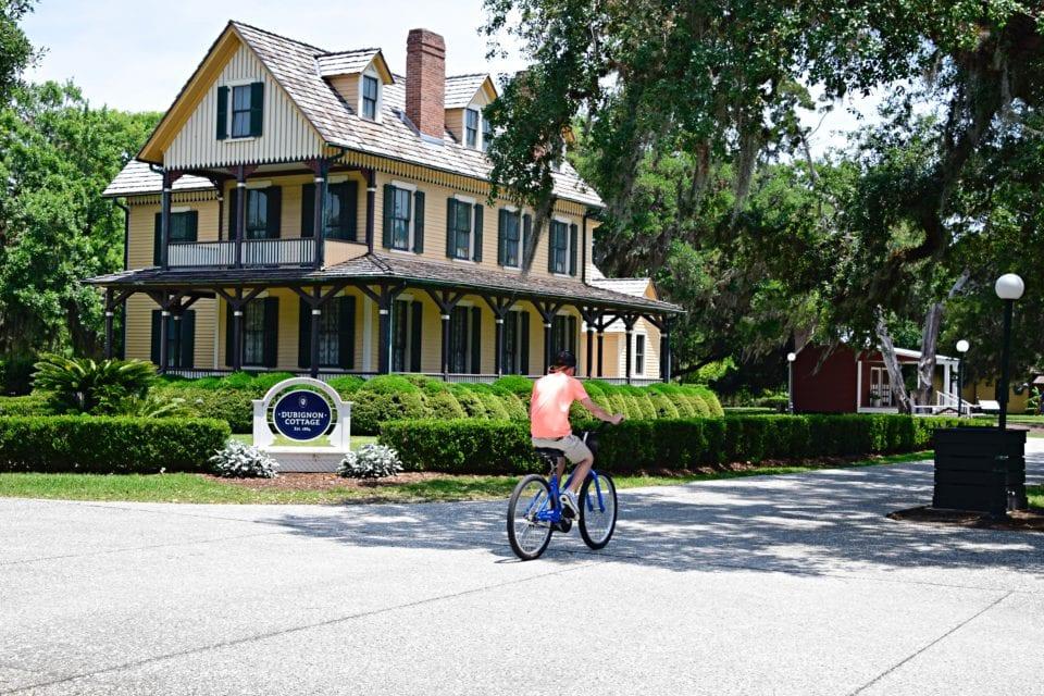 Biking through the Historic District on Jekyll Island