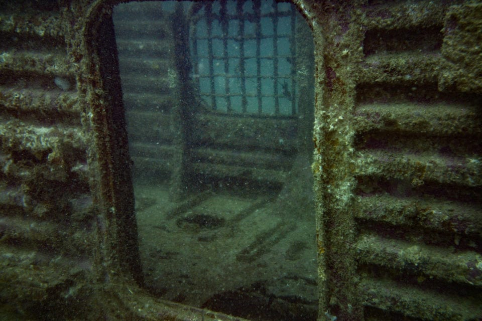 Looking inside the hovercraft wreck site - Panama City Beach